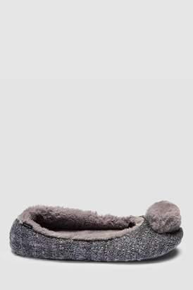 619c28cf49cd Next Womens Grey Pom Pom Ballerina Slippers