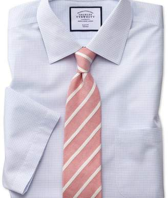 Charles Tyrwhitt Slim fit non-iron micro check short shirt sleeve blue shirt