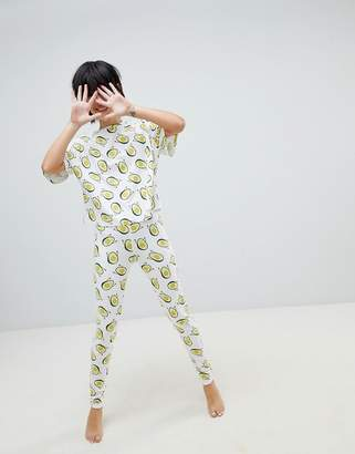 Asos Design Waving Avocado Legging And Boxy Tee Pyjama Set