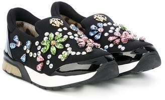 Roberto Cavalli Junior teen appliqué slip-on sneakers