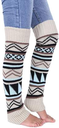 Soficy Women Leg Warmer Fashion Winter Bohemian Boho Knit Crochet Long Boot Socks