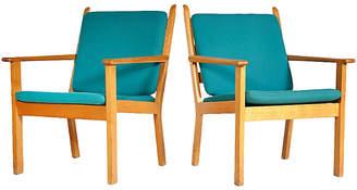 One Kings Lane Vintage Hans J. Wegner Oak Lounge Chairs - Set of 2