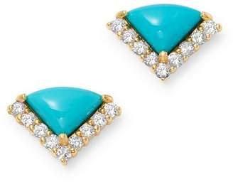 Bloomingdale's Turquoise & Diamond Stud Earrings in 14K Yellow Gold - 100% Exclusive
