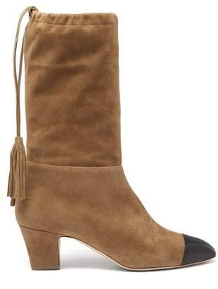 Rupert Sanderson Tiptoe Square Toe Suede Knee High Boots - Womens - Light Tan