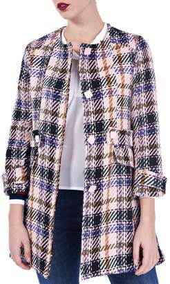 Angela Davis Pastel Plaid Coat