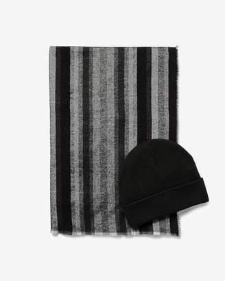 Express Black Striped Scarf And Hat Gift Set