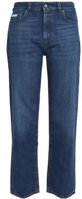 ALEXACHUNG Faded Mid-Rise Straight-Leg Jeans