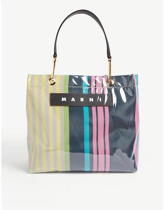 Marni Glossy striped medium top-handle tote bag