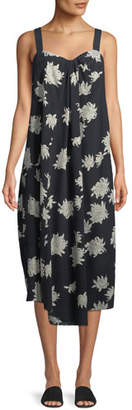 Vince Draped Chrysanthemum Sleeveless Midi Dress
