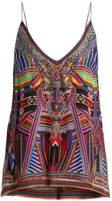 Camilla Tsachila Blessing-print silk cami top