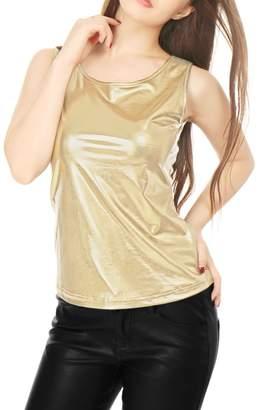 Allegra K Women's U Neck Sleeveless Stretch Metallic Tank Top M