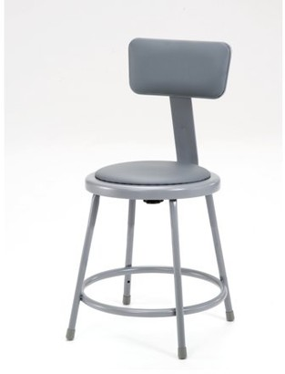 """National Public Seating NPS 18"""" High Heavy Duty Vinyl Padded Steel Stool With Backrest, Grey"""