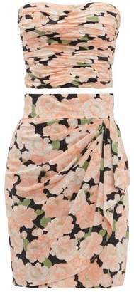 Azzaro William Vintage - Loris Floral Print Silk Skirt And Top Set - Womens - Pink Print