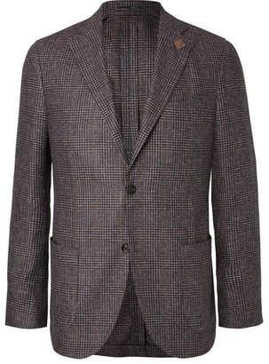 Lardini Brown Unstructured Checked Silk Blazer