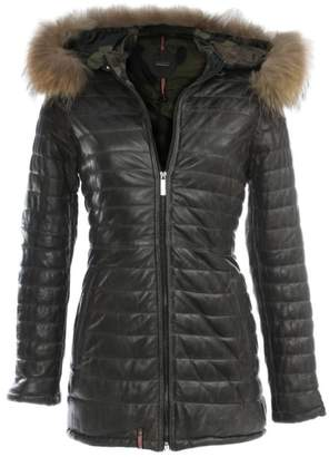 Oakwood Popping Quilted Grey Leather Fur Trim Jacket
