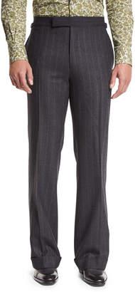 Tom Ford Wide-Leg Flannel Stripe Trousers