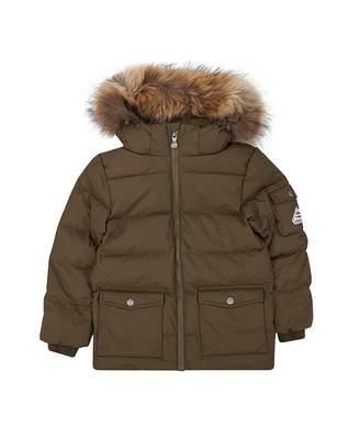Pyrenex Authentic Gaberdine Fur Trim Down Coat Colour: SAGE, Size: Age