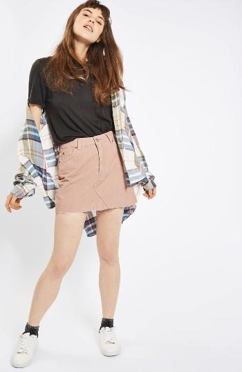 Women's Topshop High Rise Corduroy Miniskirt 4