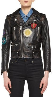 Saint Laurent Leather Moto Jacket with Patches $4,990 thestylecure.com