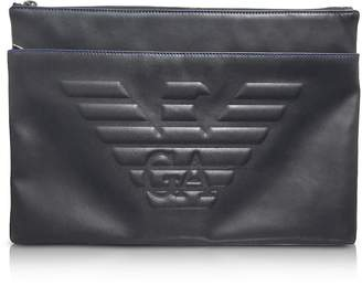 Emporio Armani Black Eagle Embossed Eco Leather Men's Clutch