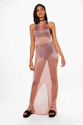 boohoo Petite Metallic Halter Neck Maxi Dress