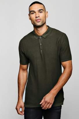 boohoo Grid Knit Short Sleeve Polo