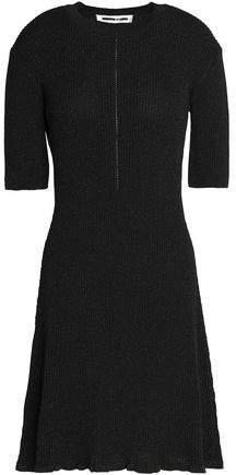 Metallic Ribbed-Knit Mini Dress