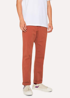 Paul Smith Men's Tapered-Fit Burnt Orange Stretch Pima-Cotton Chinos