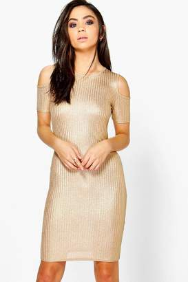 boohoo Rib Cold Shoulder Dress
