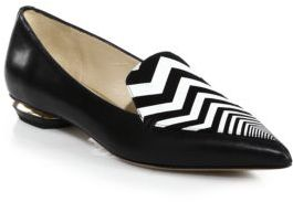 Nicholas Kirkwood Leather Zigzag-Detail Loafers $560 thestylecure.com