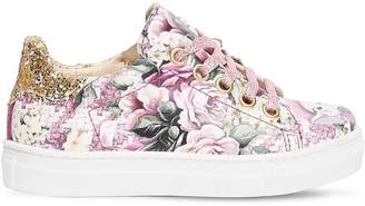 MonnaLisa BIANCA FLORAL FAUX LEATHER SNEAKERS