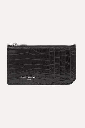 Saint Laurent (サン ローラン) - Saint Laurent - Croc-effect Patent-leather Cardholder - Black