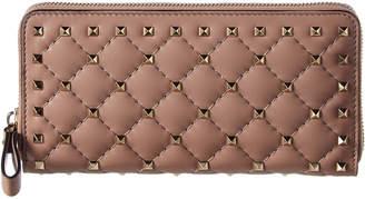 Valentino Rockstud Spike Leather Zip Around Wallet