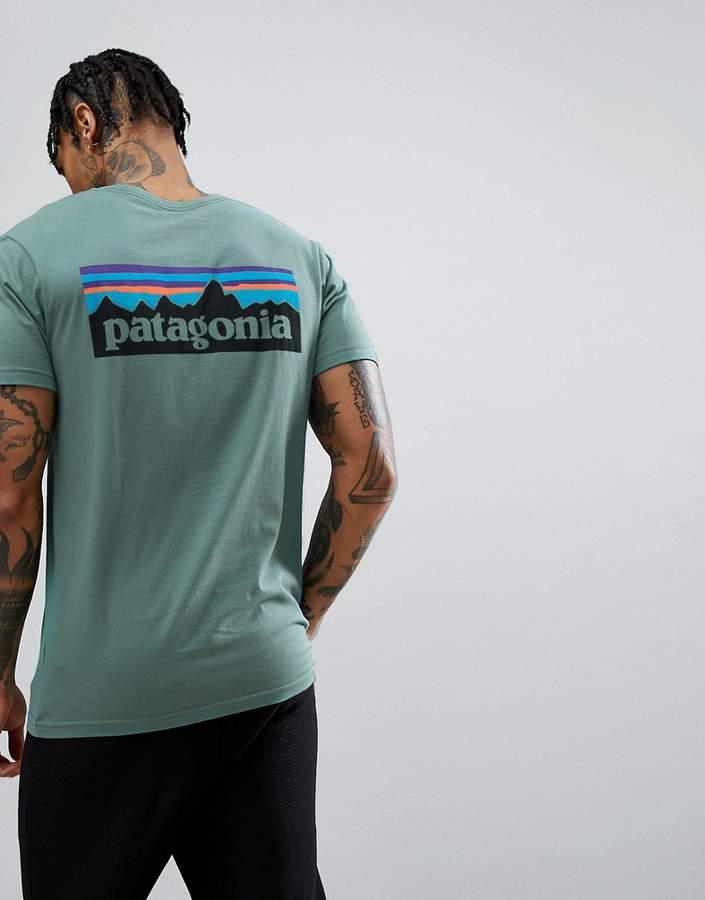 – P-6 – Schmales Bio-T-Shirt in verwaschenem Grün mit Logo