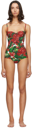 Dolce & Gabbana Red and Green Portofino Balconette One-Piece Swimsuit