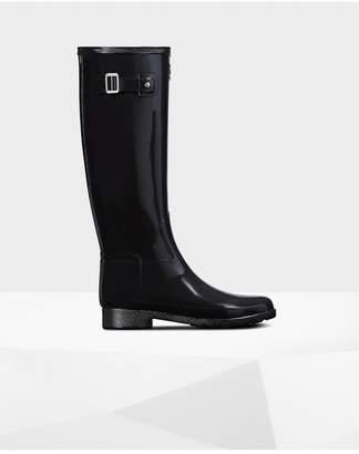 Hunter Womens Refined Leopard Print Lining Slim Fit Tall Rain Boots