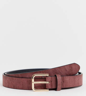 Asos Design DESIGN Plus Wedding faux leather slim belt in burnished burgundy with silver buckle