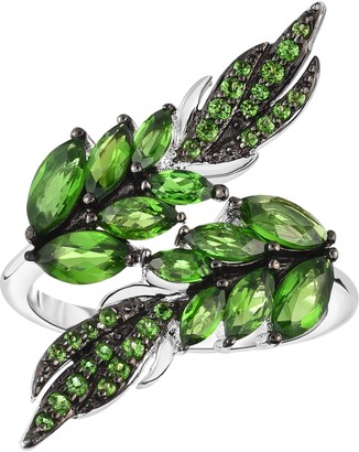 Sterling 3.25 cttw Chrome Diopside Leaf Ring