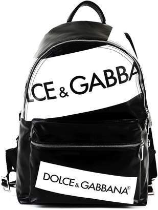 Dolce & Gabbana Dolce Gabbana Vulcano Backpack In Resinated Canvas With Logo Printing