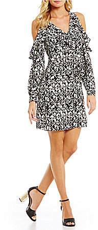 DKNY DKNY Cold-Shoulder Printed Dress