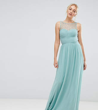 Little Mistress Tall tall embellished top maxi dress in sage