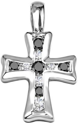 Silver Cross TwoBirch Silver Pendant with Chain Charm set with Black And White Diamonds (0.5 ct. twt.) with Black And White Diamonds (0.5 ct. twt.)