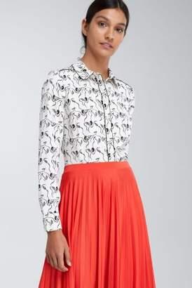 Next Womens Ecru Bird Printed Soft Shirt