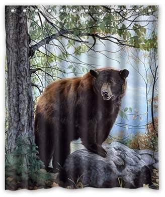 "Ställ Custom It bear forest nature Design mildew resistant Waterproof Bathroom Fabric Shower Curtain 60"" x 72"""