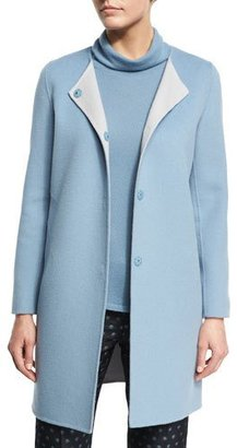 Armani Collezioni Wool-Cashmere Snap-Front Car Coat, Medium Blue $1,495 thestylecure.com