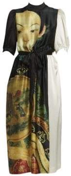 Simone Rocha Women's Silk Belted Midi Dress - Black Cream - Size UK 12 (8)