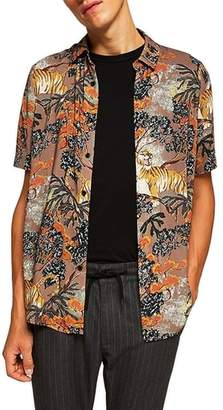 Topman Suburb Tiger Print Shirt