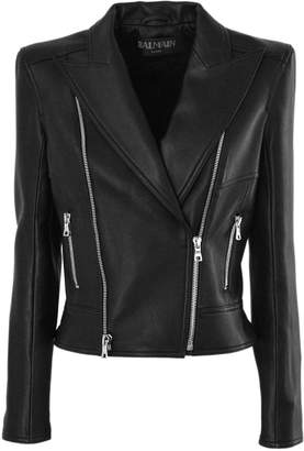 Balmain Black Leather Biker Jacket.