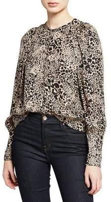 Rebecca Taylor Leopard-Print Jacquard Silk Button-Front Blouse