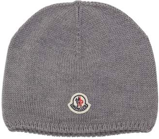 Moncler Logo Patch Wool Knit Beanie